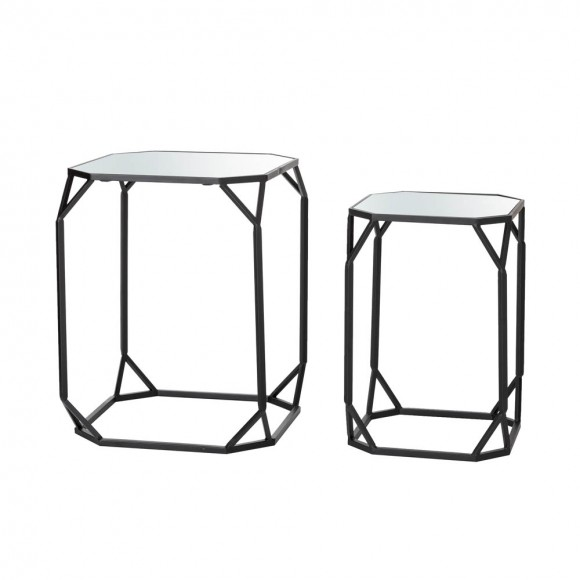 Glitzhome Black Metal Nesting  Side & End Accent Table with Glass Top, Set of 2