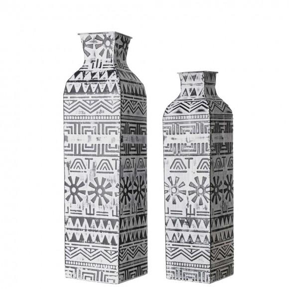 Glitzhome Global/Boho Textured Metal Table / Floor Vase, Set of 2
