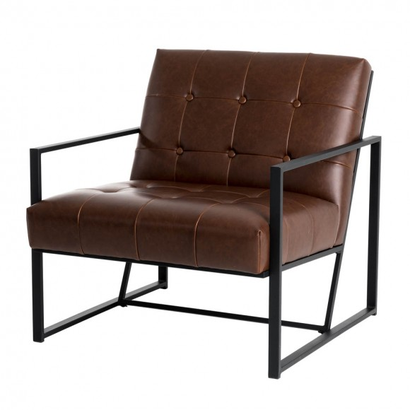 """Glitzhome 29.25""""H Brown PU Leather Tufted Accent Chair"""