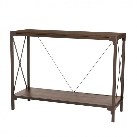 """Glitzhome 43.25""""L Modern Industrial Brown Wood/Metal Console Table"""