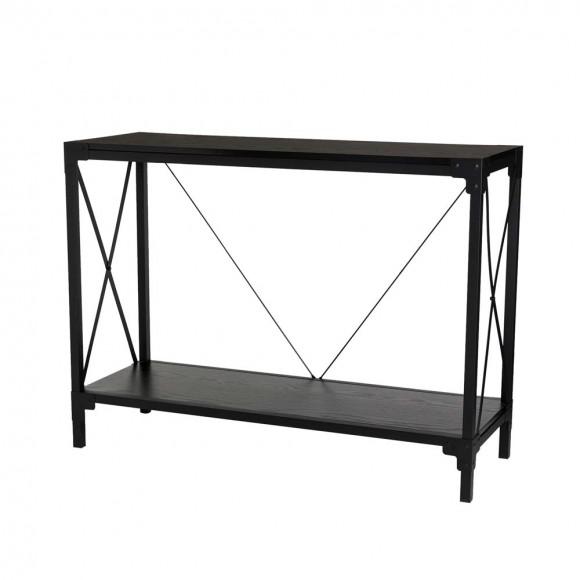 "Glitzhome 43.25""L Modern Industrial Black Wood/Metal Console Table"