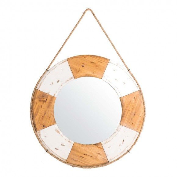 """Glitzhome 30""""D Coastal Lifebuoy Wood Wall Mirror"""