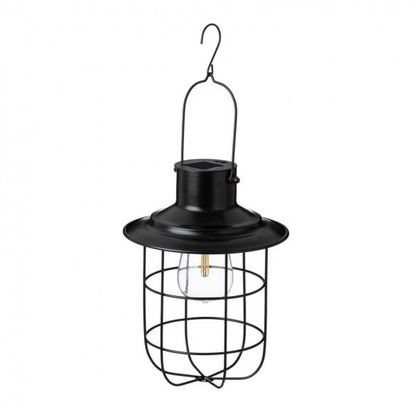 "Glitzhome 9.75""H Farmhouse Black Metal Wire Solar Powered Outdoor Hanging Lantern"
