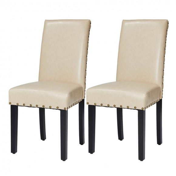 Glitzhome High-Back Beige PU Upholstered Dining Chair with Studded Decor, Set of 2