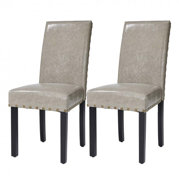 Glitzhome High-Back Gray PU Upholstered Dining Chair with Studded Decor, Set of 2