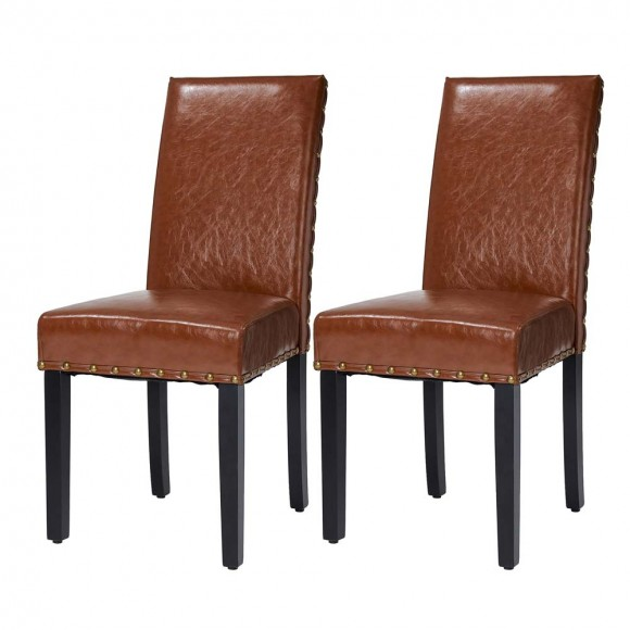 Glitzhome High-Back Brown PU Upholstered Dining Chair with Studded Decor, Set of 2