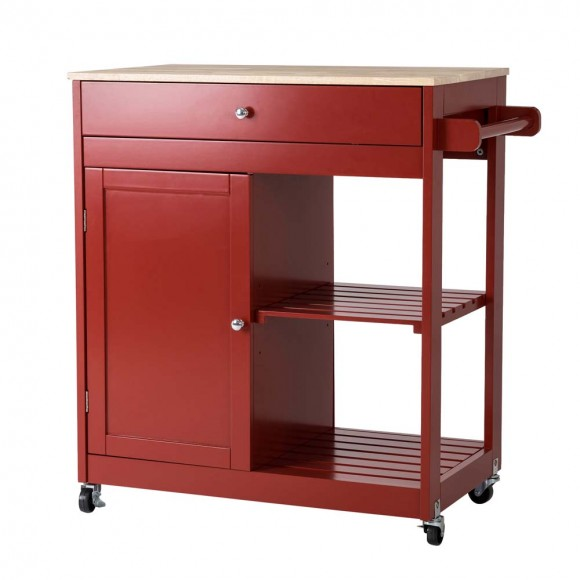 """Glitzhome 34.25""""H Red Wooden Basic Kitchen Cart/Island with Solid Oak Top"""