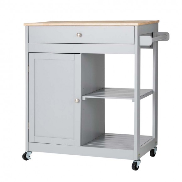 """Glitzhome 34.25""""H Gray Wooden Basic Kitchen Cart/Island with Solid Oak Top"""