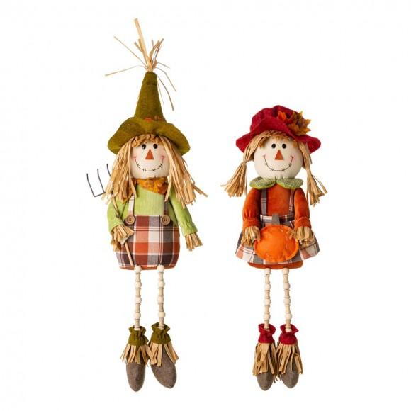 Glitzhome Fall Fabric Couple Scarecrow Shelf Sitter