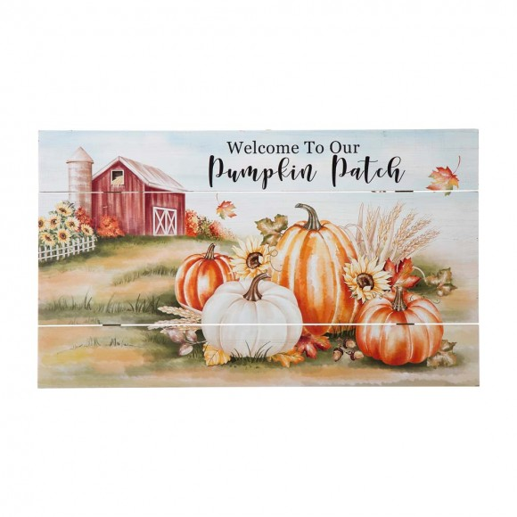 """Glitzhome 24""""L Fall Wooden """"Welcome To Our Pumpkin Patch"""" Wall Sign Decor"""