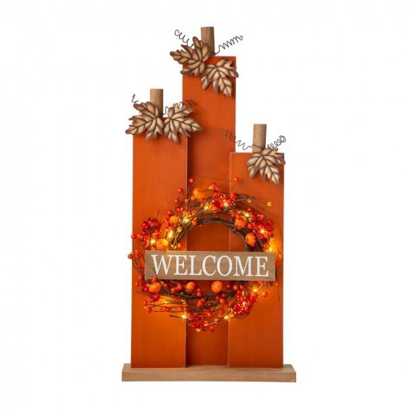 "Glitzhome 30""H Fall Lighted Wooden Pumpkin Décor with Wreath"