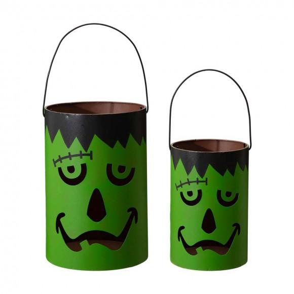 Glitzhome Green Halloween Metal Cutout Frankenstein Face Bucket, Set of 2