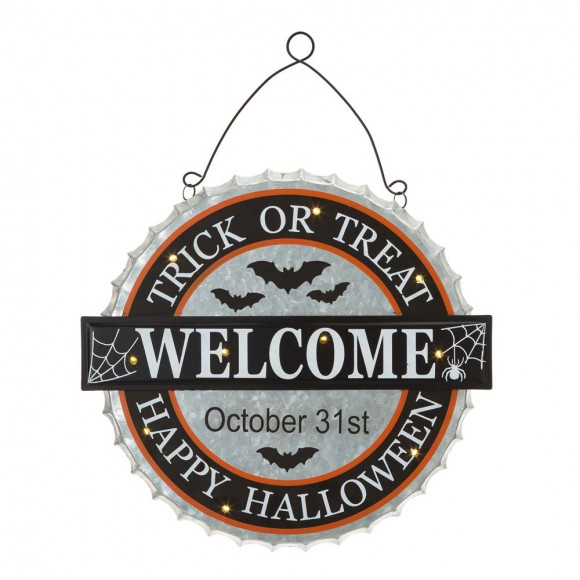 """Glitzhome 14""""L Lighted Halloween WELCOME Metal Bottle Cap Wall Sign"""