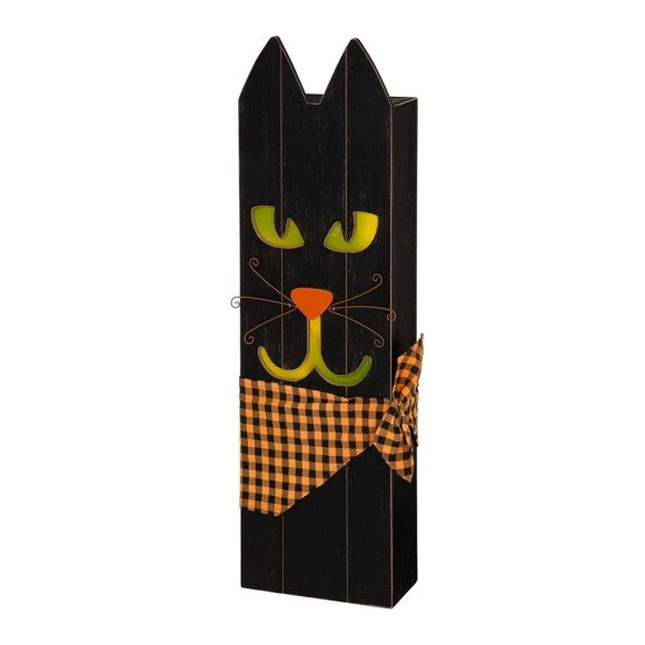 "Glitzhome 30""H Lighted Wooden Black Cat Porch Decor"