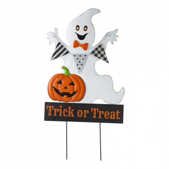 """Glitzhome 32""""H Lighted Halloween Metal Ghost Yard Stake or Hanging Decor (Two Functions)"""
