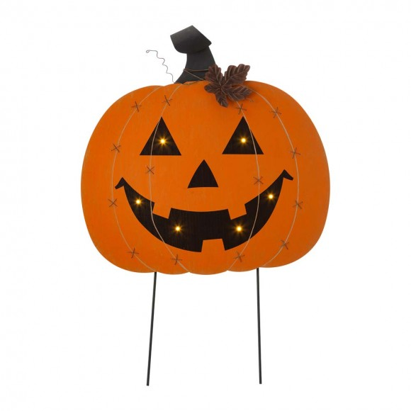 """Glitzhome 32""""H Halloween Wooden & Metal Pumpkin Stake or Wall Décor (Two Functions)"""