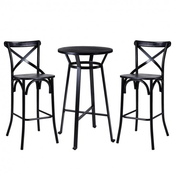 Glitzhome Set of 2 Black Steel Bar Chairs and a Round Top Pub Table (3-Piece)