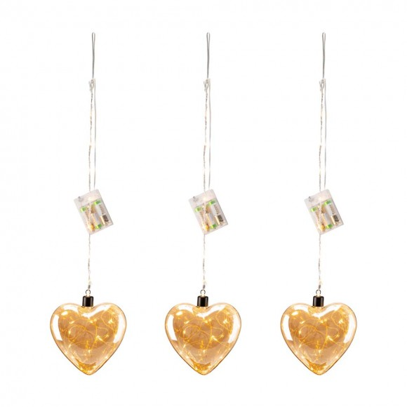 """Glitzhome 25.75""""H 3 Piece Christmas Glass Heart Ornaments with String Lights"""
