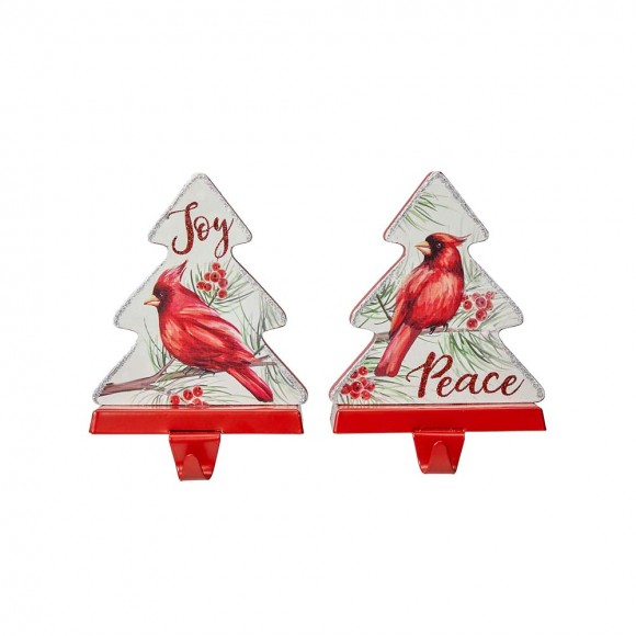 """Glitzhome 7""""H Wooden Christmas Cardinal Stocking Holders, Set of 2"""
