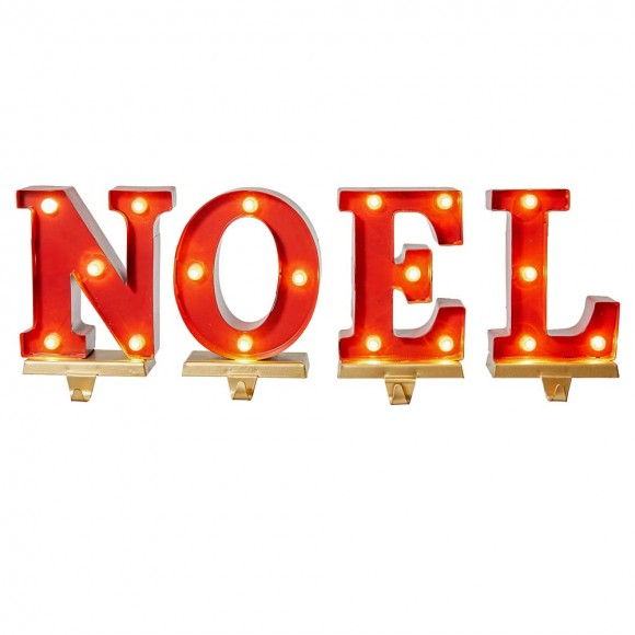 """Glitzhome 8.5""""H Metal """"NOEL"""" Christmas Stocking Holders with LED Lights, Set Of 4"""