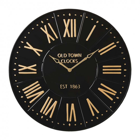 "Glitzhome 31.25""D Oversized Modern Farmhouse Metal Enamel Wall Clock (Black/Gold)"