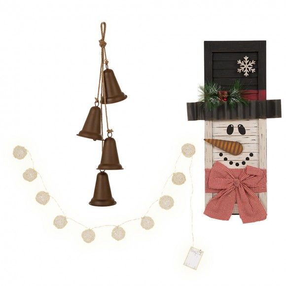 Glitzhome Christmas Jingle Bells Tree/Window Hanging Iron Bells Series and Handcrafted Christmas Wooden Snowman 3D Wall Decor Retro Set