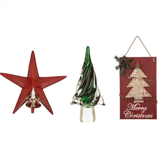 Glitzhome Christmas Wall Sign Hanging Decor and Green Striped Glass Tree Table Decor and Rustic Red Metal LED Candle Holder Set