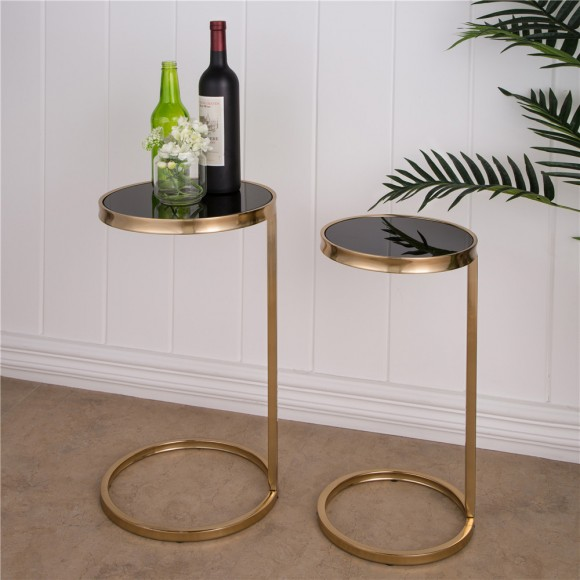 Glitzhome Accent Table Deluxe Metal Mirrored Round Gold Accent Table, Set of 2