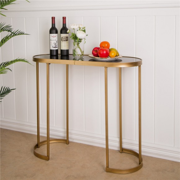 Glitzhome Deluxe Looking Mirrored Gold Console Table with Glass Top