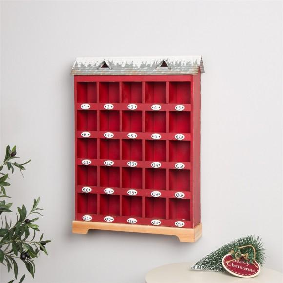 Glitzhome Christmas Countdown Calendar Farmhouse Style Wood Metal Home Décor 25'' inches