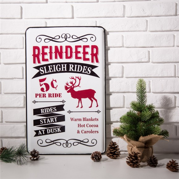 "Glitzhome Farm Sign Metal Enamel Farmhouse Decor Christmas Reindeer Home Decor 23.62"" H"