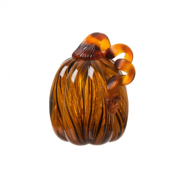 "Glitzhome 6"" Handblown Glass Pumpkin Table Decor For Fall & Harvest, Thanksgiving Decoration, Amber"