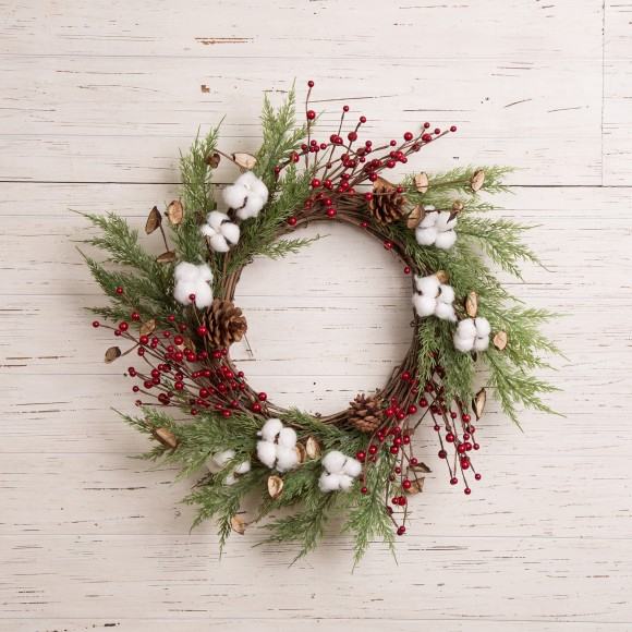 Glitzhome Hand-Made Cotton Berries Cypress Leaves Wreath Holiday Decorations for Front Door 22 inches (Diameter)