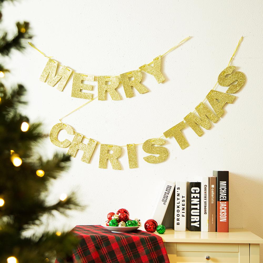 OFFICIAL] Glitzhome Glittery Merry Christmas Banner Garland Gold
