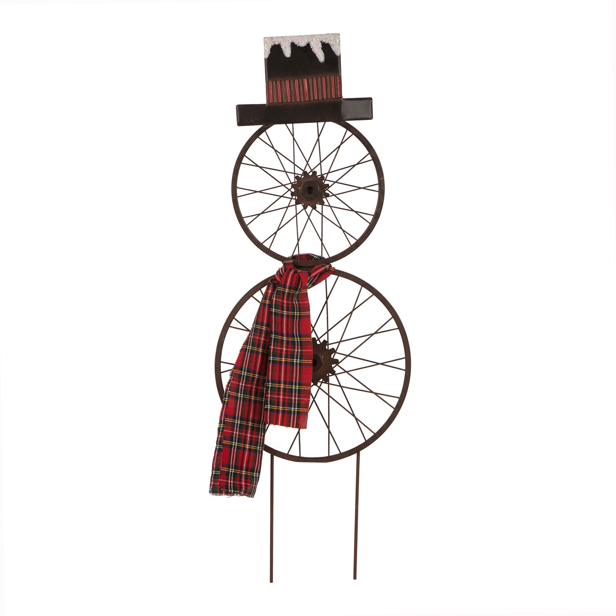 Glizhome Metal Bike Wheel Snowman Yard Stake With Plaid