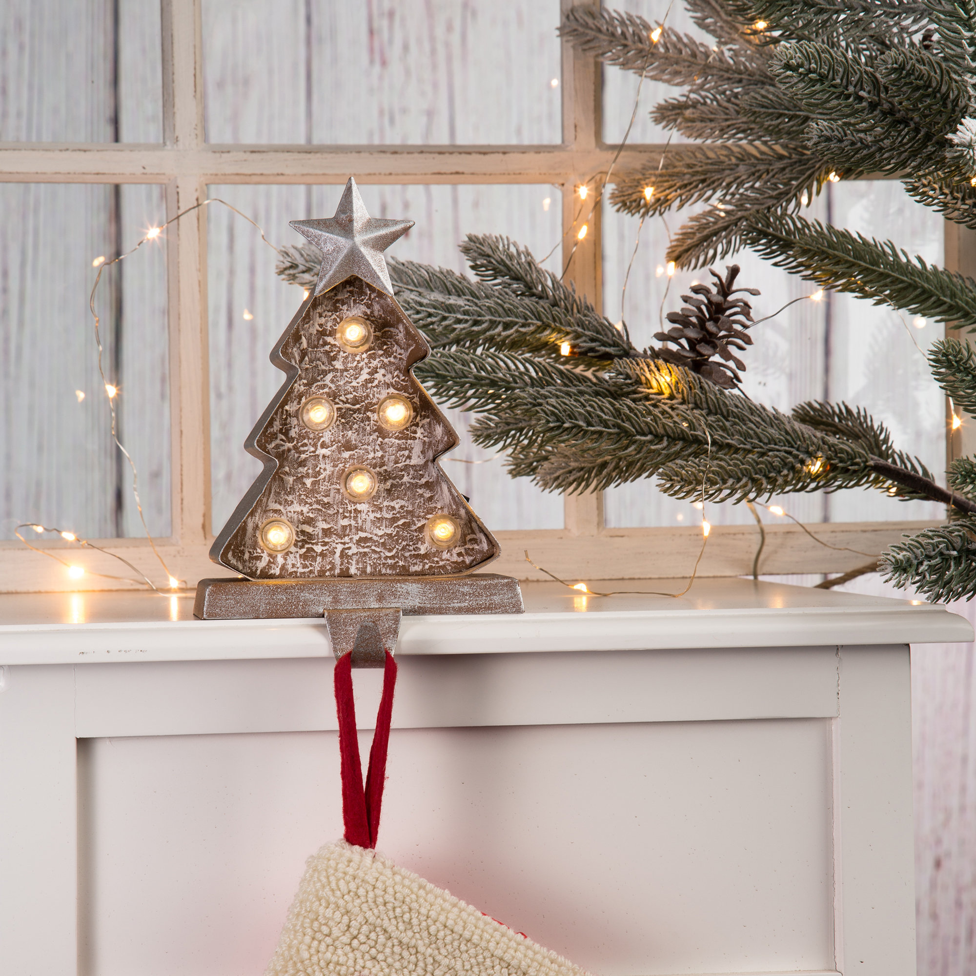 Weiy Knitted Christmas Stockings Classic Xmas Knit Ornaments Solid Color Tree Decor Accessory for Home Decorations,Linen