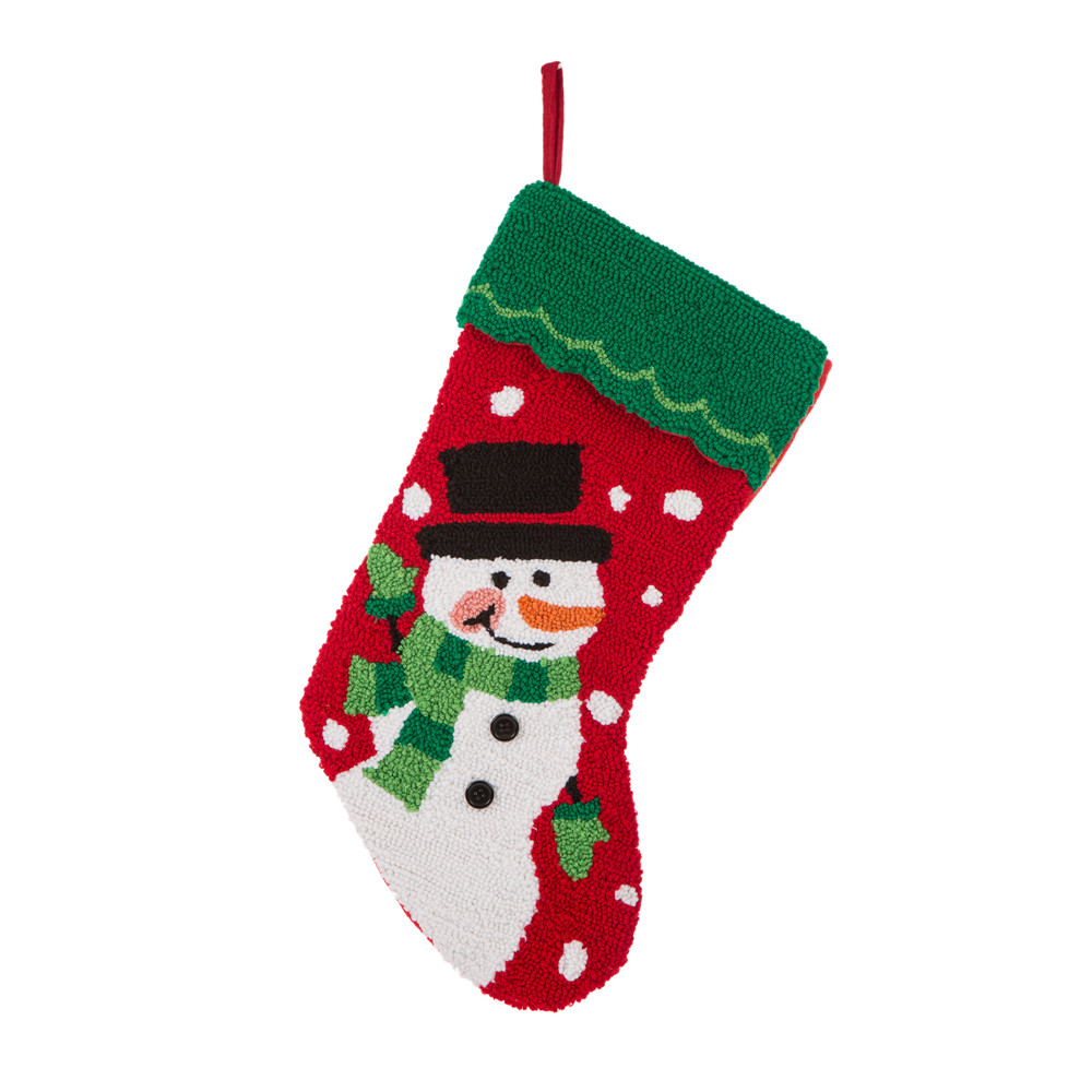 OFFICIAL] Glitzhome Handmade Hooked Snowman Christmas Stocking Decor