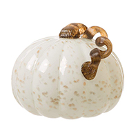 7.09 Inch Handblown Golden/White Glass Pumpkin Table Accent For Fall Harvest