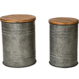 Glitzhome Rustic Galvanized Metal Storage Accent Table or Stool with Round Wood Lid, Set of 2