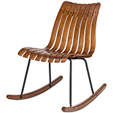 Glitzhome Bamboo Contoured Rocking Accent Chair