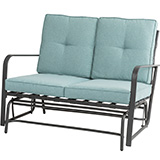 Glitzhome Outdoor Patio Loveseat Glider Chair with Blue Cushions