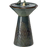 Two Birds Embossed Plant Pattern Pedestal Ceramic Fountain with LED Light and Pump