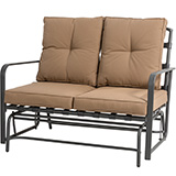 Glitzhome Outdoor Patio Loveseat Glider Chair with Tan Cushions