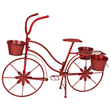 Glitzhome Metal Standing Planter Hand Painted Flower Holder Fall Home Decor Red, 25.98