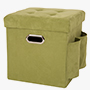Cube Faux Suede Foldable Storage Ottoman with Padded Seat, Green