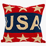 Handmade Hooked Patriotic 'USA' Pillow Cover